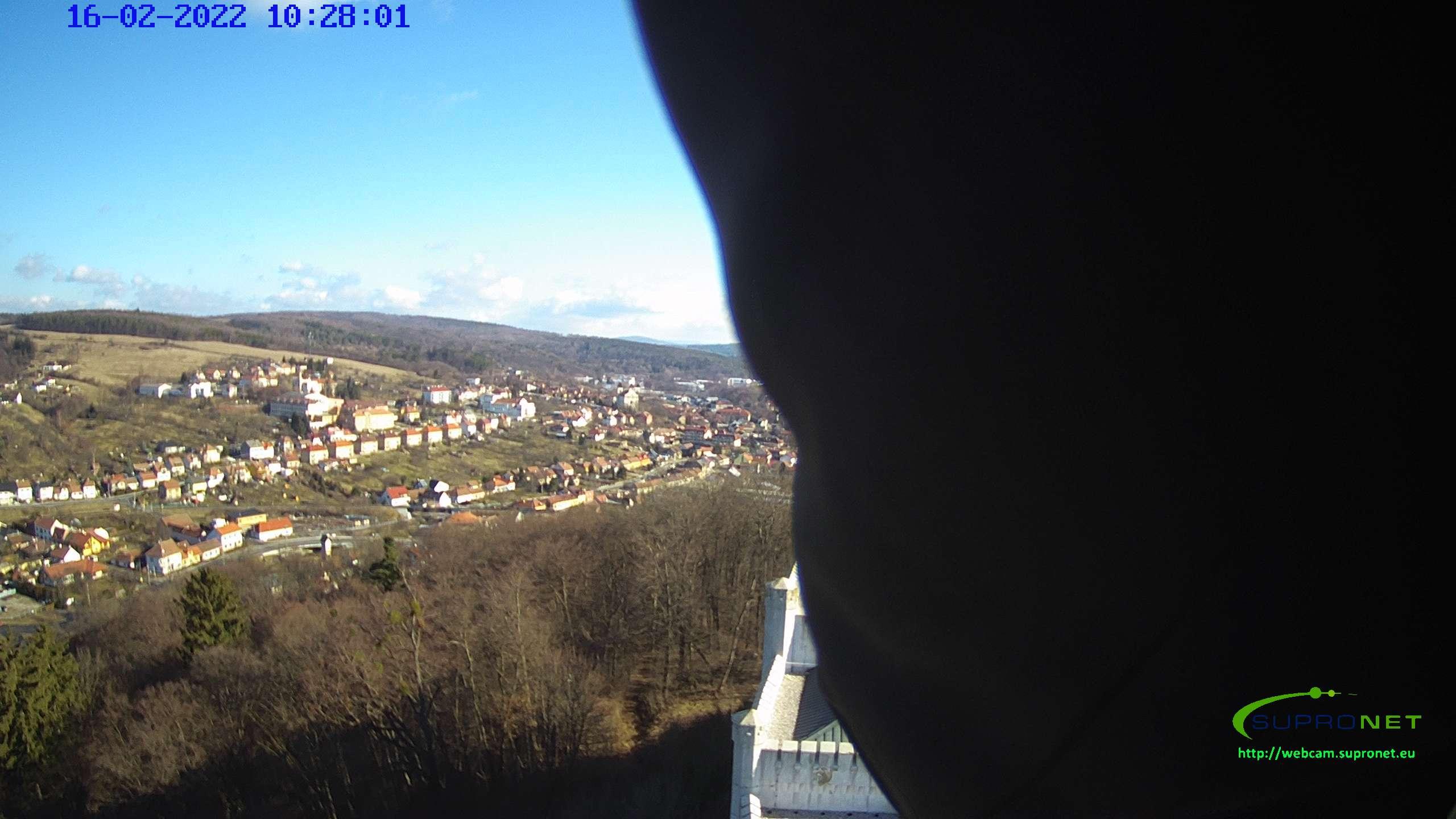 Pohled na město Bojkovice z věže zámku Nový Světlov